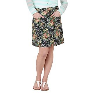 Ruhaans Green Rayon Floral Skirt