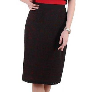 Ruhaans Black Rayon Solid Skirt