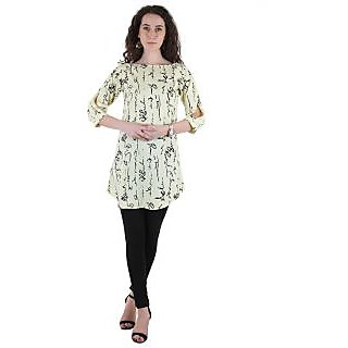 Ruhaans Green Crepe Round Neck Elbow sleeve Tunic