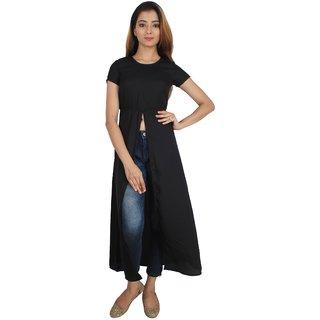 SuAndJay Maxi Dress Poly Moss Georgette  Black