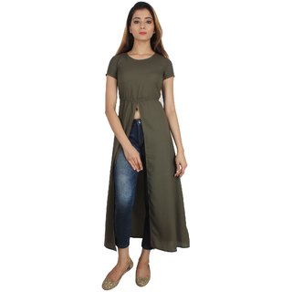 SuAndJay Maxi Dress Poly Moss Georgette  Khaki