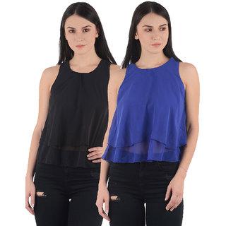 Westrobe Womens Black n Blue Plain Crop Top Combo of 2