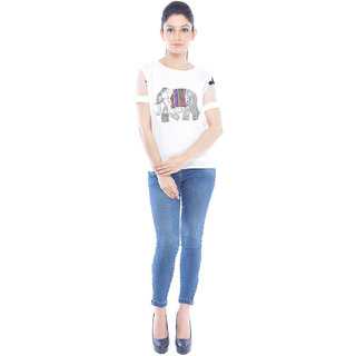 Designeez White Embroidered Patch Of Elephant Cotton Top