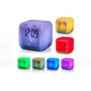 Mezzotek Glowing LED 7 Color Changing Digital Alarm Clock With Calendar  Temperature (SKU-2013)