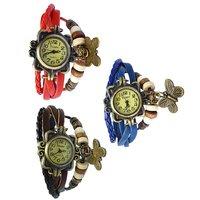 Multicolour Leather Bracelet Butterfly Wrist Watch - Pack of 3