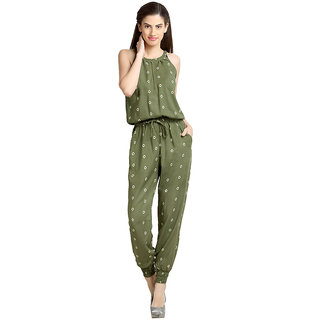 Loco En Cabeza Green Rayon Printed Jumpsuit