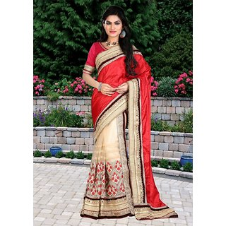 Thankar Red  Beige Multy Work Paper Silk Georgette  Nylon Net Half And Half Bollywood Designer Saree