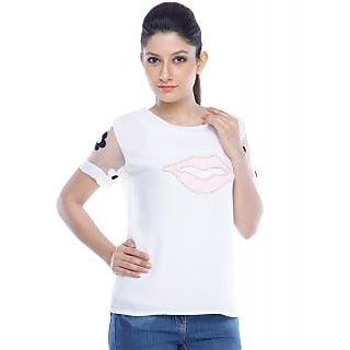Designeez White Embroidered Patch Of Lips Cotton Top