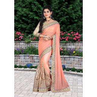 Fabliva Peach Multy Work Lycra Silk  Nylon Net Bollywood Designer Saree