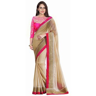 Bhuwal Fashion Lace Border Work Beige Color Faux Georgette Saree With Blouse Pcs-Bf110Beige