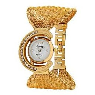 Glory Round Dial Gold Leather Analog Watch For Women