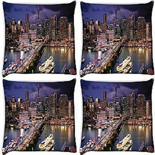 Snoogg Abstract Buildings At Night Pack Of 4 Digitally Printed Cushion Cover Pillows 14 X 14 Inch