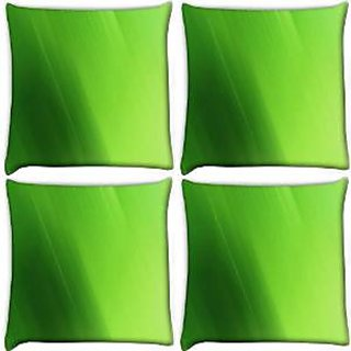 Snoogg Abstract Green Color Pack Of 4 Digitally Printed Cushion Cover Pillows 14 X 14 Inch
