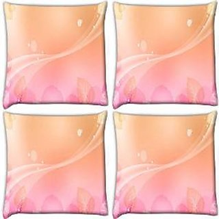Snoogg Abstract Leaves Pattern Design Pack Of 4 Digitally Printed Cushion Cover Pillows 16 X 16 Inch