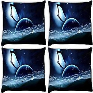 Snoogg Abstract Neon Earth Pack Of 4 Digitally Printed Cushion Cover Pillows 14 X 14 Inch