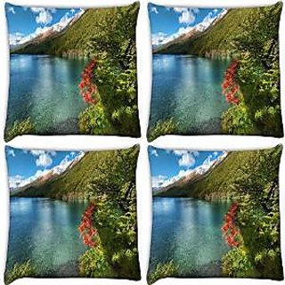 Snoogg Abstract Water Shade Pack Of 4 Digitally Printed Cushion Cover Pillows 12 X 12 Inch