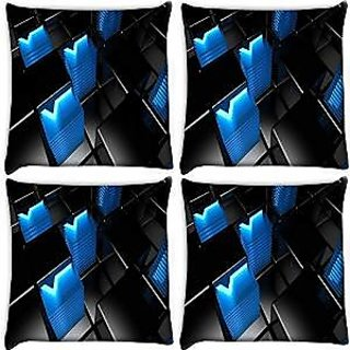 Snoogg Abstract Blue V Design Pack Of 4 Digitally Printed Cushion Cover Pillows 12 X 12 Inch