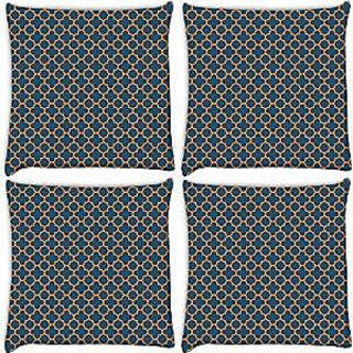 Snoogg Abstract Orange Pattern Pack Of 4 Digitally Printed Cushion Cover Pillows 14 X 14 Inch