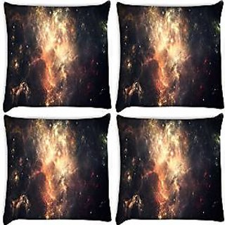 Snoogg Abstract Galaxy Pack Of 4 Digitally Printed Cushion Cover Pillows 18 X 18 Inch