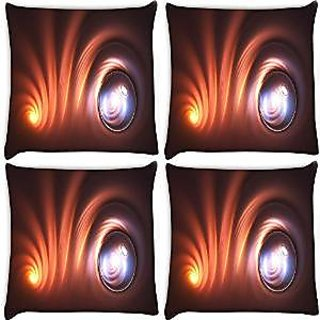 Snoogg Abstarct Curves Multicolor Pack Of 4 Digitally Printed Cushion Cover Pillows 16 X 16 Inch