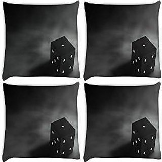 Snoogg Abstract Dice Pack Of 4 Digitally Printed Cushion Cover Pillows 16 X 16 Inch
