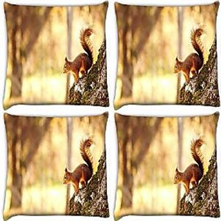 Snoogg Abstract Animal Pack Of 4 Digitally Printed Cushion Cover Pillows 16 X 16 Inch