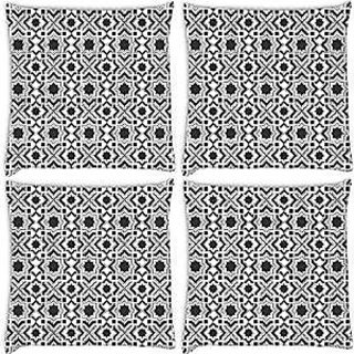 Snoogg Abstract Grey White Pattern Pack Of 4 Digitally Printed Cushion Cover Pillows 16 X 16 Inch
