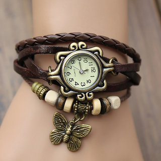 New Fashion Leather Bracelet Watch For Women - Brown
