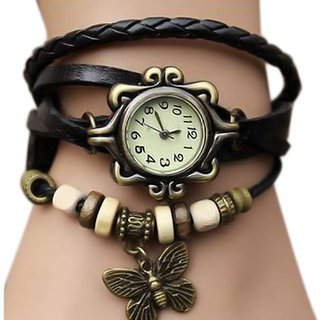 New Fashion Leather Bracelet Watch For Women - Black