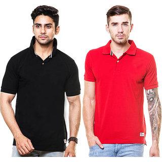Enquotismpack Of 2 Plain Collar T-Shirts (CP201)