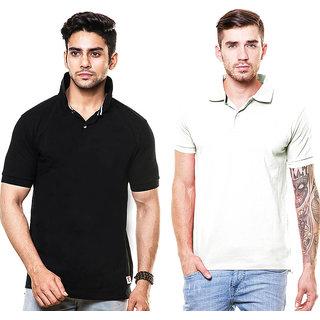Enquotismpack Of 2 Plain Collar T-Shirts (CP202)