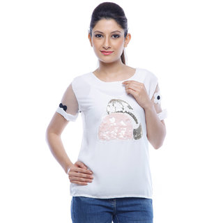 Designeez White Embroidered Patch Of Sequence Handbag Cotton Top