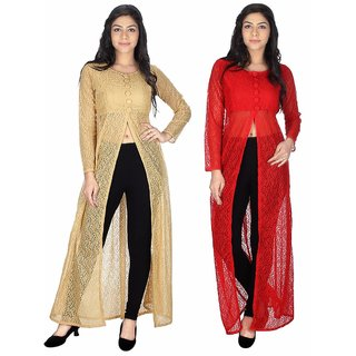 Sukuma Combo of 2 Front Slit Fusion Long Kurties Beig-Red