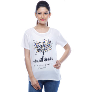 Designeez White Printed Grp This Loved Moment Chiffon Top