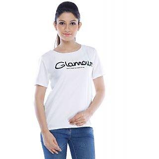 Designeez White Printed Glamour Chiffon Top