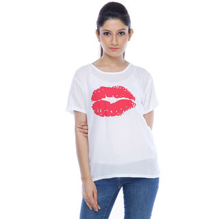 Designeez White Printed Big Lip Chiffon Top