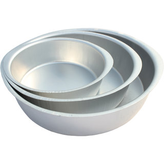 Noor Aluminium Round Shape Cake Moulds - Set Of 3 for Half,One and Two Kg cake