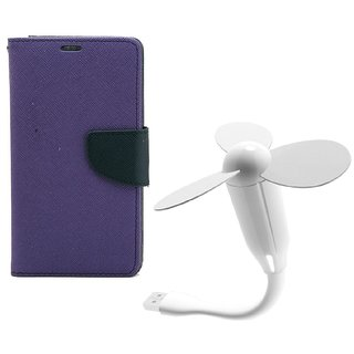 YGS Diary Wallet Case Cover  For Samsung Galaxy J7 (2016 Edition)-Purple With White USB Fan
