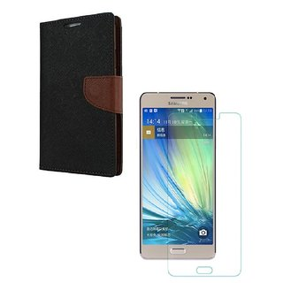 YGS Diary Wallet Case Cover  For Samsung Galaxy J7 (2016 Edition)-Brown With Tempered Glass