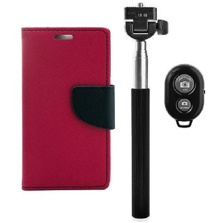 YGS Diary Wallet Case Cover  For Samsung Galaxy J7 (2016 Edition)-Pink With Extendable Selfie Stick and  Bluetooth Shutter Remote