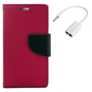 YGS Diary Wallet Case Cover  For Samsung Galaxy J7 (2016 Edition)-Pink With Audio Splitter