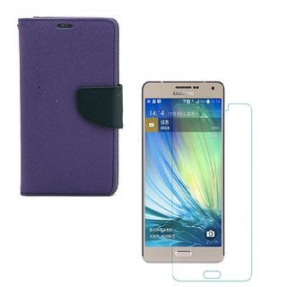 YGS Diary Wallet Case Cover  For Samsung Galaxy J7 (2016 Edition)-Purple With Tempered Glass
