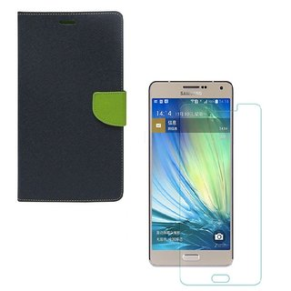 YGS Diary Wallet Case Cover  For Samsung Galaxy J7 (2016 Edition)-Blue With Tempered Glass