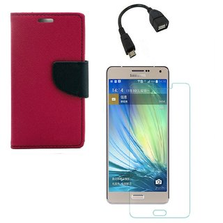 YGS Diary Wallet Case Cover  For Samsung Galaxy J7 (2016 Edition)-Pink With Tempered Glass With Micro OTG Cable