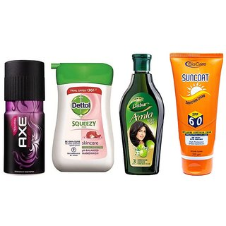 Super Saver Combo  Axe Deo + Dettol Handwash + Amla Hair oil + Biocare Sunscreen