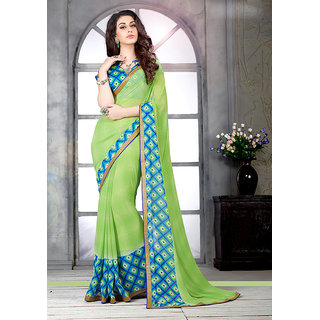 Triveni Green Georgette Printed Saree With Blouse