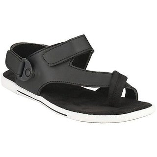 Afrojack Men's Black Synthetic Leather Sandals