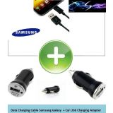 Car USB Adapter + Micro USB Data Cable for Samsung Galaxy S3/Grand/Note/S4/Duos - Black