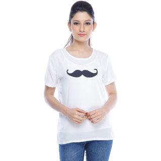 Designeez White Printed Moonch Chiffon Top
