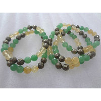 Faceted Pyrite Green Aventurine And Citrine Bracelet For ProsperityGood Luck